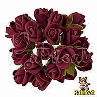 Розы Бордовые из фоамирана (латекса) на проволоке 3 см 10 шт/уп