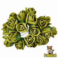 Розы Оливковые из фоамирана (латекса) на проволоке 3 см 10 шт/уп