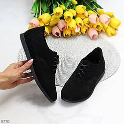Модные черные замшевые женские туфли натуральная замша низкий ход шнуровка 38-24,5см