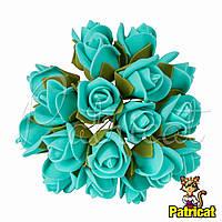 Розы Аквамариновые из фоамирана (латекса) на проволоке 3 см 10 шт/уп