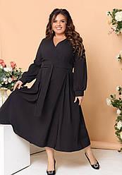 Женское черное платье с запахом большие размеры