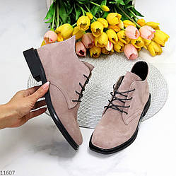 Стильные розовые пудра замшевые женские ботинки натуральная замша 36-23,5 / 38-25 см