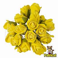 Розы Желтые из фоамирана (латекса) на проволоке 3 см 10 шт/уп