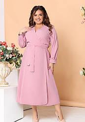 Женское розовое платье с запахом большие размеры