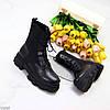 Эффектные черные эластичные женские ботинки на шнуровке на массивной подошве, фото 5