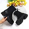 Эффектные черные эластичные женские ботинки на шнуровке на массивной подошве, фото 9