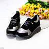 Чорні сріблясті жіночі замшеві кросівки снікерси натуральна замша, фото 2