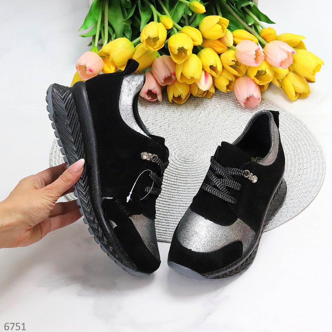 Чорні сріблясті жіночі замшеві кросівки снікерси натуральна замша