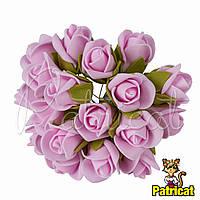 Розы Светло-розовые из фоамирана (латекса) на проволоке 3 см 10 шт/уп