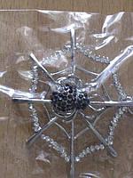 Кулон паук на паутине в стразах на длинной цепочке.10