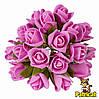 Розы Розовые из фоамирана (латекса) на проволоке 3 см 10 шт/уп