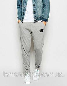 Теплые мужские спортивные штаны New Balance серые (ФЛИС)