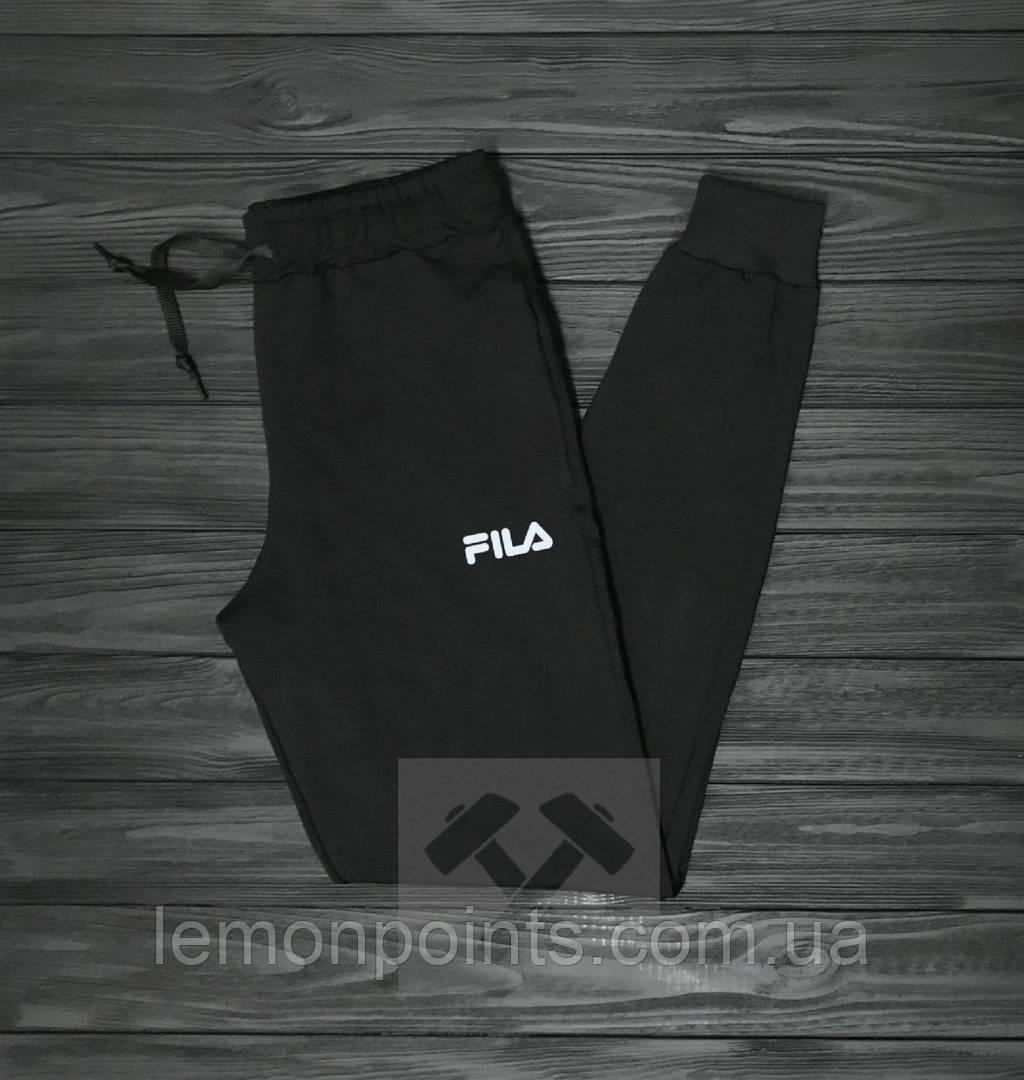 Теплые мужские спортивные штаны Fila черные ФЛИС (до -25 °С)