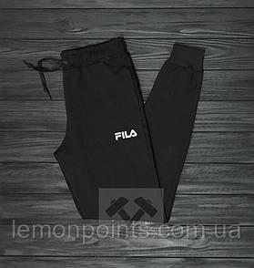 Теплые мужские спортивные штаны Fila черные (ФЛИС)