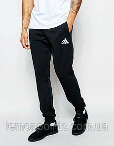 Теплые мужские спортивные штаны Adidas черные (ФЛИС)