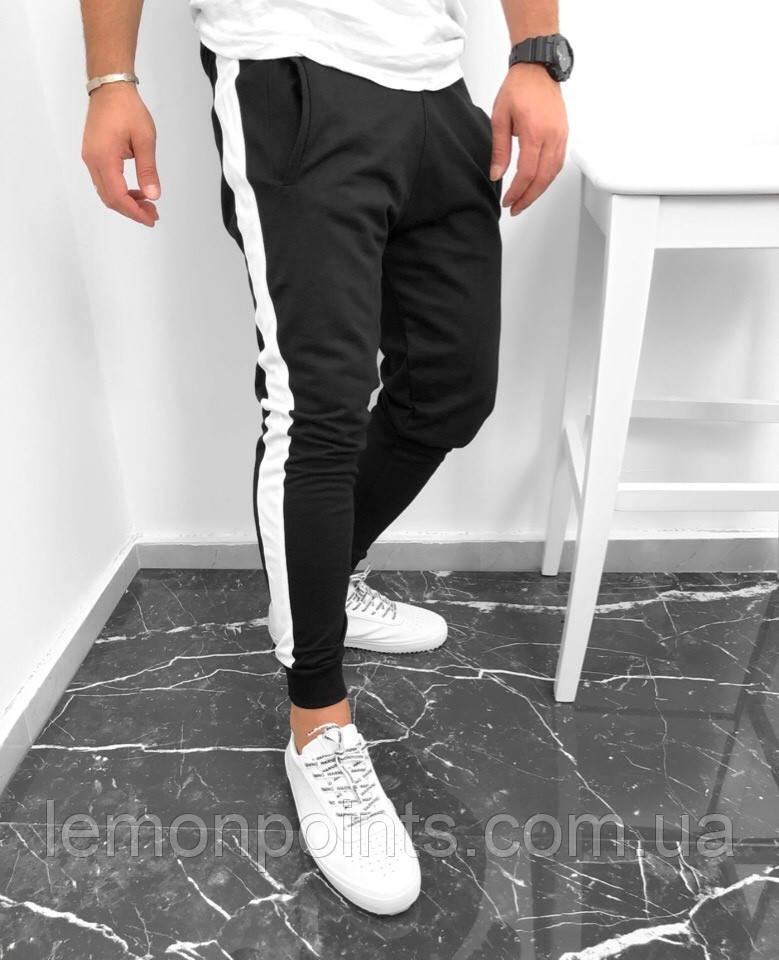 Теплые мужские спортивные штаны H195 черные ФЛИС (до -25 °С) с лампасами