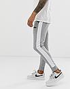 Теплые мужские спортивные штаны Asics с лампасами серые (ФЛИС), фото 2