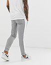 Теплые мужские спортивные штаны Asics с лампасами серые (ФЛИС), фото 3