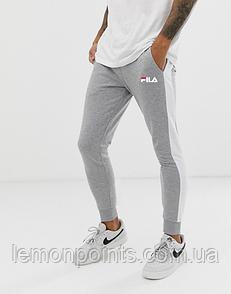 Теплые мужские спортивные штаны Fila №07 с лампасами серые (ФЛИС)