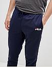 Теплые мужские спортивные штаны Fila с лампасами синие (ФЛИС), фото 3