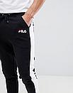 Теплые мужские спортивные штаны Fila №09 с лампасами черные ФЛИС (до -25 °С), фото 2