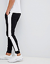 Теплые мужские спортивные штаны Fila №09 с лампасами черные ФЛИС (до -25 °С), фото 4