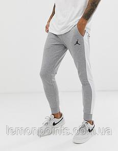 Теплые мужские спортивные штаны Jordan №10 с лампасами серые (ФЛИС)