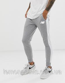Теплые мужские спортивные штаны New Balance с лампасами серые (ФЛИС)