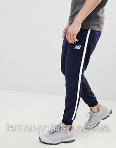Теплые мужские спортивные штаны New Balance с лампасами синие (ФЛИС)