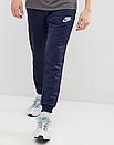 Теплые мужские спортивные штаны Nike с лампасами синие (ФЛИС), фото 2