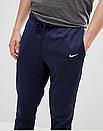 Теплые мужские спортивные штаны Nike с лампасами синие (ФЛИС), фото 3