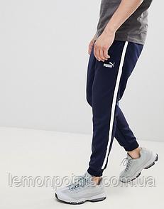 Теплые мужские спортивные штаны Puma с лампасами синие (ФЛИС)