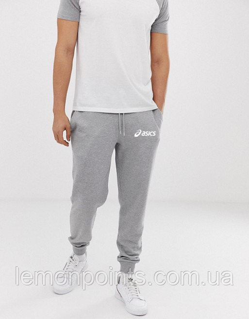 Теплые мужские спортивные штаны Asics №69 серые ФЛИС (до -25 °С)