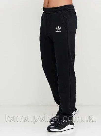 Теплые мужские спортивные штаны черные ФЛИС (до -25 °С) Adidas без манжет