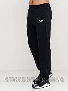 Теплые мужские спортивные штаны черные (ФЛИС) Adidas без манжет