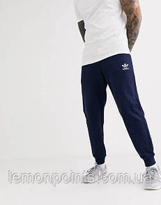 Теплые мужские спортивные штаны синие (ФЛИС) Adidas