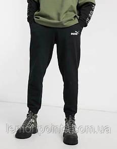 Теплые мужские спортивные штаны черные (ФЛИС) Puma