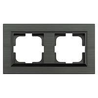 Рамка 2-ная QUANTUM серый магнит