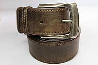 Ремень кожаный 'OldBrown' 40 мм коричневый в ковбойском стиле
