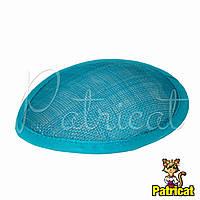 Основа Синамей для шляпки, вуалетки каплевидная Аквамариновая 10.5x13.5 см