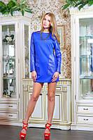 Платье-туника с эко-кожей цвет синий Дейзи