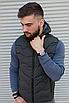 Утеплённая мужская жилетка со съёмным капюшоном хаки цвета   100% нейлон + синтепон 150, фото 2
