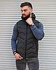 Утеплённая мужская жилетка со съёмным капюшоном хаки цвета   100% нейлон + синтепон 150, фото 3
