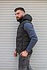 Утеплённая мужская жилетка со съёмным капюшоном хаки цвета   100% нейлон + синтепон 150, фото 6