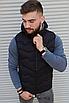 Чёрная утеплённая мужская жилетка со съёмным капюшоном | 100% нейлон + синтепон 150, фото 3