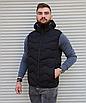 Чёрная утеплённая мужская жилетка со съёмным капюшоном | 100% нейлон + синтепон 150, фото 4
