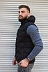 Чёрная утеплённая мужская жилетка со съёмным капюшоном | 100% нейлон + синтепон 150, фото 6