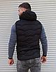 Чёрная утеплённая мужская жилетка со съёмным капюшоном | 100% нейлон + синтепон 150, фото 7