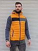 Жёлтая утеплённая мужская жилетка со съёмным капюшоном   100% нейлон + синтепон 150, фото 2