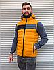 Жёлтая утеплённая мужская жилетка со съёмным капюшоном   100% нейлон + синтепон 150, фото 4